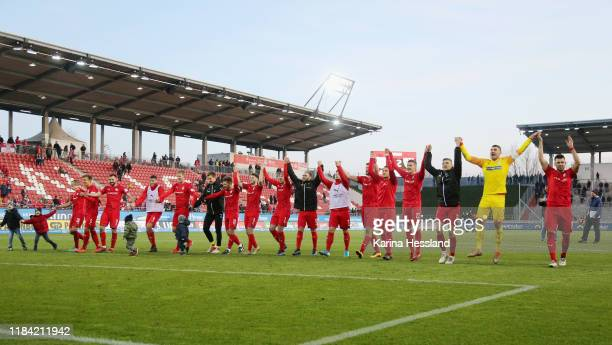 Team of Zwickau celebrate after the 3. Liga match between FSV Zwickau and Preussen Muenster at GGZ Arena on November 23, 2019 in Zwickau, Germany.