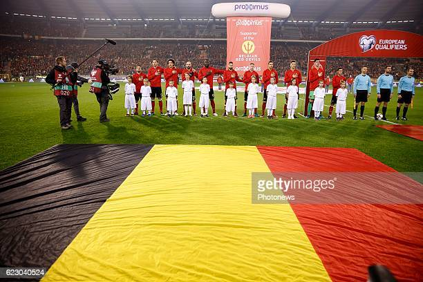 Team off Belgium during the World Cup Qualifier Group H match between Belgium and Estonia at the King Baudouin Stadium on November 13, 2016 in...