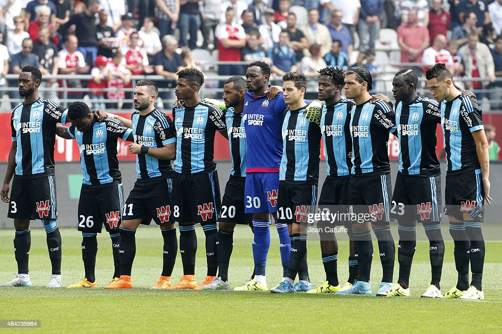 Team Olympique de Marseille poses before the French Ligue 1 match between Stade de Reims and Olympique de Marseille (OM) at Stade Auguste Delaune on August 16, 2015 in Reims, France.