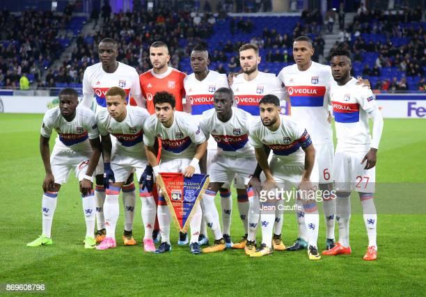 a0699bfce Team Olympique Lyonnais poses before the UEFA Europa League group E match  between Olympique Lyonnais and