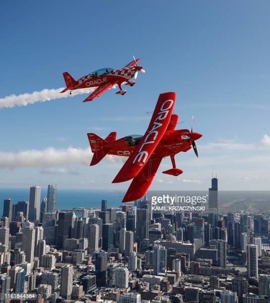 Team Oracle Hall of Fame Air Show Performer Sean D Tucker and Jessy Panzer fly their aircrafts over Chicago as they prepare for the 61th annual...