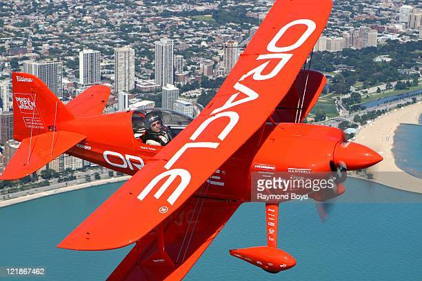 Team Oracle's aerobatic pilot, Sean D. Tucker practices stunts for Chicago's 53rd Annual Air And Water Show in Chicago, Illinois on AUG 18, 2011.
