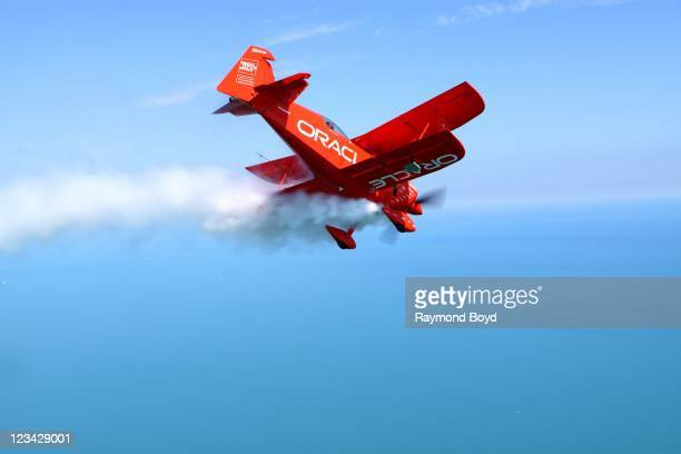 Team Oracle's aerobatic pilot Sean D Tucker practices stunts for Chicago's 53rd Annual Air And Water Show in Chicago Illinois on AUG 18 2011
