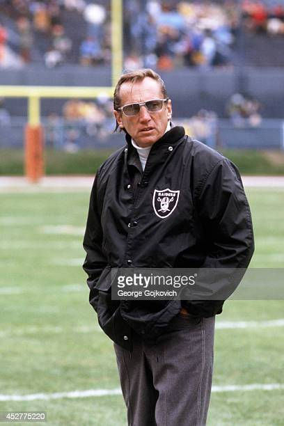 Team owner Al Davis of the Oakland Raiders looks on from the sideline before a game against the Cleveland Browns at Municipal Stadium on October 9...