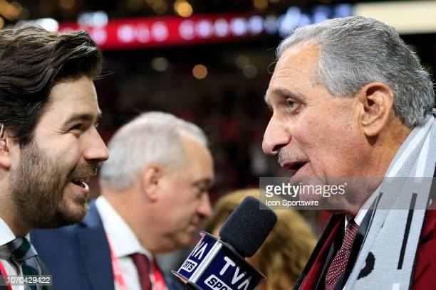 Team owner Arthur Blank is interviewed after their win in the MLS Cup between the Atlanta United FC and the Portland Timbers on December 8 2018 at...