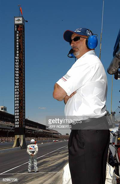 Team owner Bobby Rahal watches his cars 29 May 2005 during the Indianapolis 500 at the Indianapolis Motor Speedway in Indianapolis Indiana Englishman...