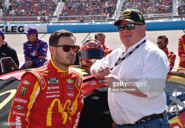 March 08, 2020: Team owner Chip Ganassi and his driver Kyle Larson McDonalds Chevrolet, Chip Ganassi Racing chatting on pit lane prior to the start...