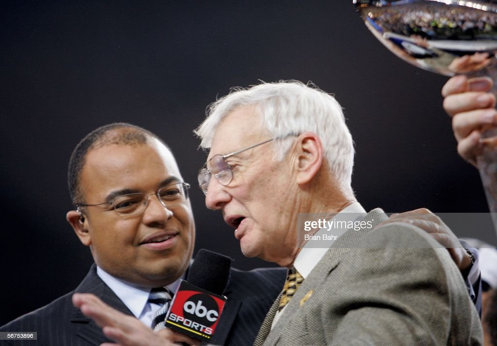 Team owner Dan Rooney of the Pittsburgh Steelers is interviewed by ESPN's Mike Tirico following the Steelers 21-10 win over the Seattle Seahawks in Super Bowl XL at Ford Field on February 5, 2006 in Detroit, Michigan.