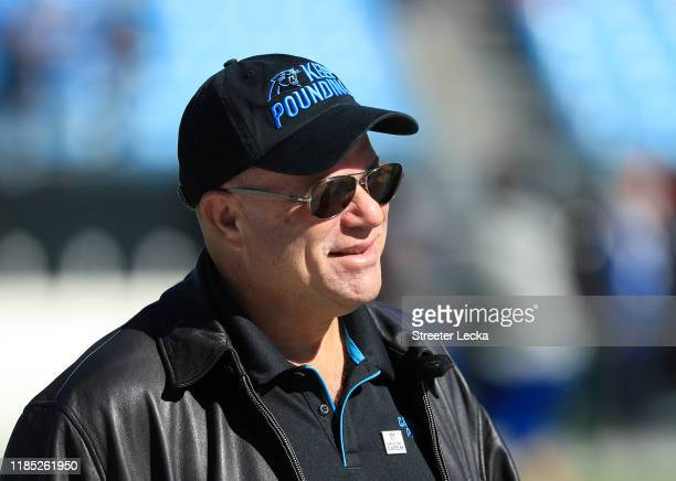 Team owner David Tepper of the Carolina Panthers watches on before their game against the Tennessee Titans at Bank of America Stadium on November 03...
