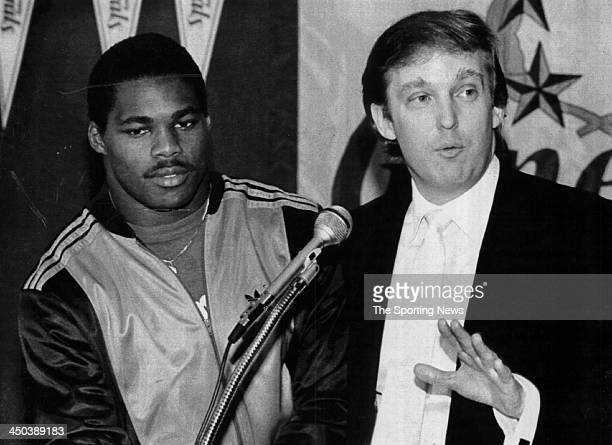 Team Owner Donald Trump announces he has signed Herschel Walker to play running back for the New Jersey Generals in New Jersey Walker played for the...