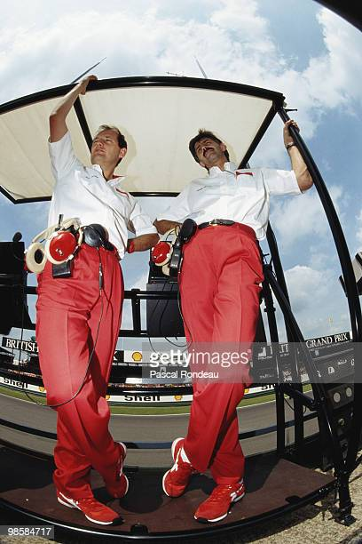 Team owner for Marlboro McLaren Honda Ron Dennis with desinger Gordon Murray during practice for the British Grand Prix on 14 July 1989 at the...