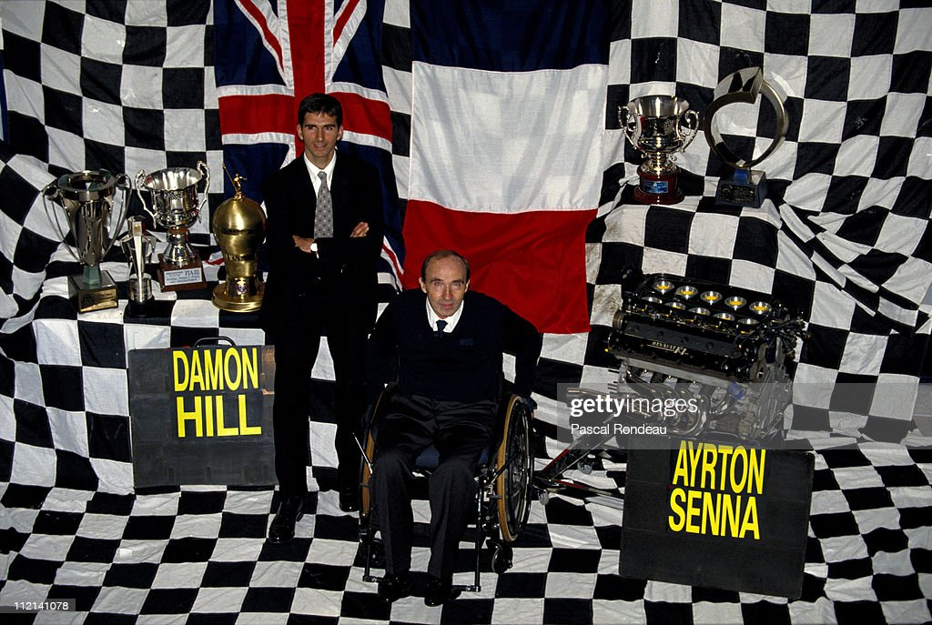 Team owner Frank Williams and Damon Hill, driver of the #0 Canon Williams Renault Williams FW15C Renault 3.5 V10 on 31st October 1993 at the Williams F1,The Grove in Wantage, Great Britain.
