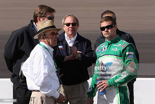 Team owner Jack Roush talks with Ricky Stenhouse Jr. , driver of the Valvoline NextGen Ford, talks with Edsel B. Ford II , the great-grandson of...