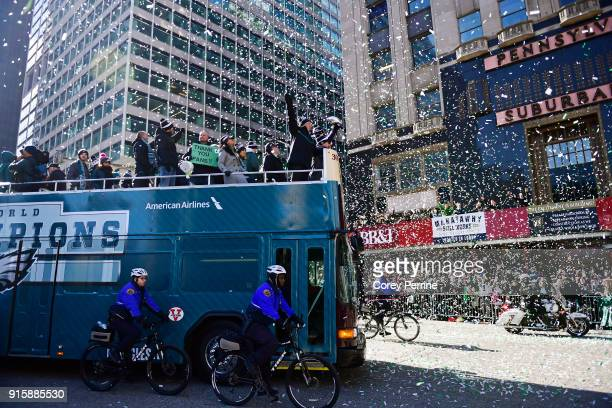 Team owner Jeffrey Lurie rides with all his quarterbacks during festivities as they hoisted the Vince Lombardi Trophy on February 8, 2018 in...