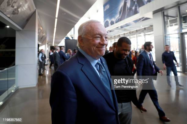 Team owner Jerry Jones of the Dallas Cowboys departs a press conference where he announced hiring Mike McCarthy as the new head coach of the Dallas...