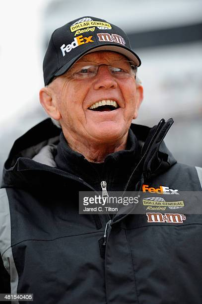 Team owner Joe Gibbs looks on during prerace ceremonies for during the NASCAR Sprint Cup Series STP 500 at Martinsville Speedway on March 30 2014 in...