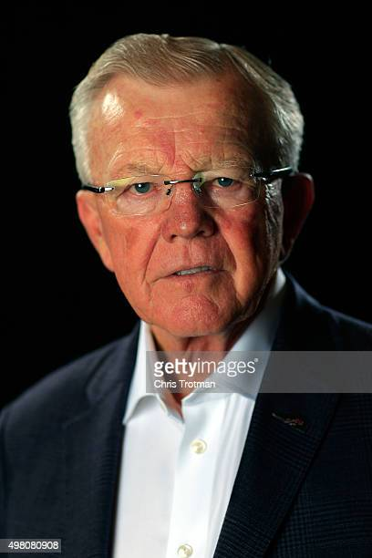 Team owner Joe Gibbs poses for a photo during the NASCAR Sprint Cup Championship 4 Media Day at Westin Diplomat on November 19 2015 in Hollywood...
