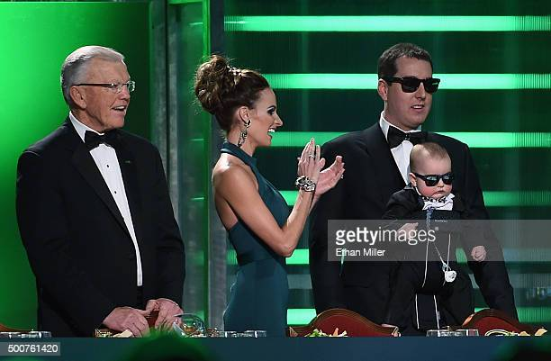 Team owner Joe Gibbs Samantha Busch her husband NASCAR Sprint Cup Series champion Kyle Busch and their son Brexton Busch are introduced at the 2015...