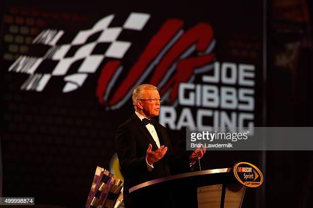 Team owner Joe Gibbs speaks onstage during the 2015 NASCAR Sprint Cup Series Awards show at Wynn Las Vegas on December 4 2015 in Las Vegas Nevada