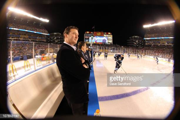 Team owner Mario Lemieux of the Pittsburgh Penguins looks on during warm ups against the Washington Capitals during the 2011 NHL Bridgestone Winter...