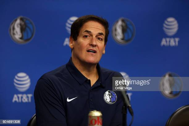 Team owner Mark Cuban looks on during a press conference to introduce Cynthia Marshall as the new Dallas Mavericks Interim CEO at American Airlines...