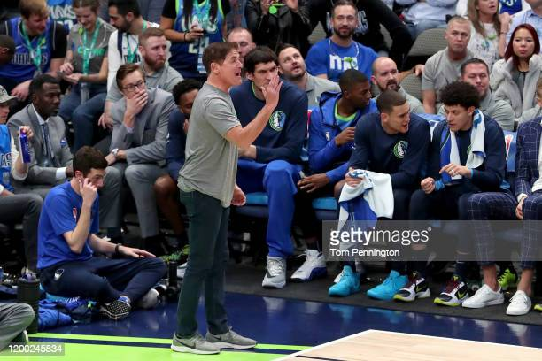 Team owner Mark Cuban of the Dallas Mavericks reacts to a call as the Mavericks take on the Portland Trail Blazers in the fourth quarter at American...