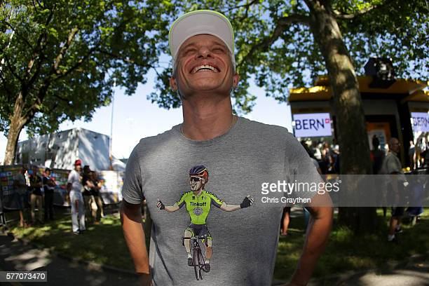 Team owner Oleg Tinkov points to his shirt with Peter Sagan of Slovakia riding for Tinkoff after stage 16 of the 2016 Le Tour de France a 209km stage...