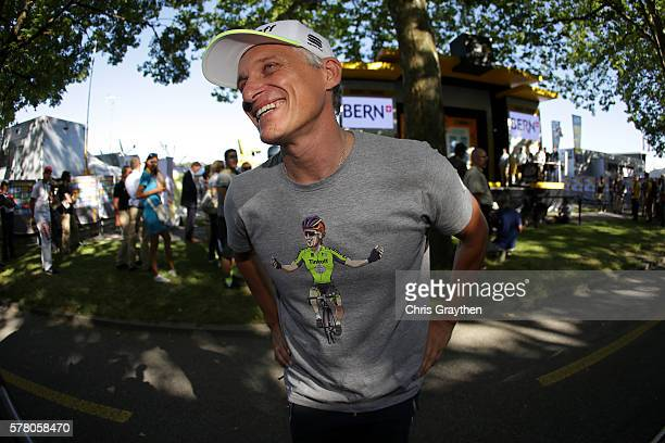Team owner Oleg Tinkov points to his shirt with Peter Sagan of Slovakia riding for Tinkoff after stage 16 of the 2016 Le Tour de France, a 209km...