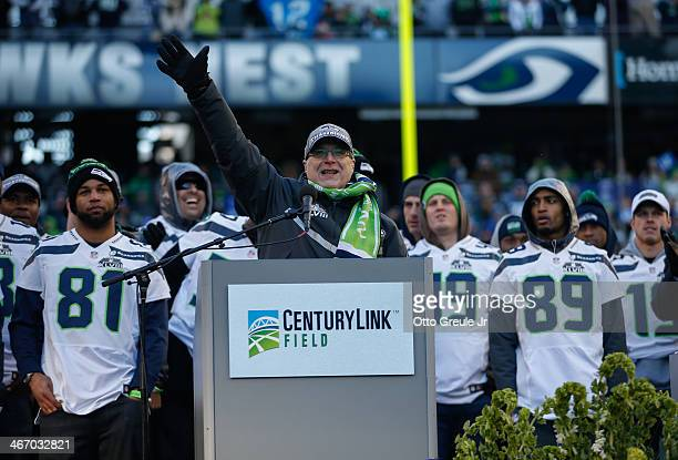 Team Owner Paul Allen of the Seattle Seahawks speaks to the crowd during ceremonies following the Super Bowl XLVIII Victory Parade at CenturyLink...
