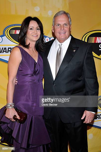 Team owner Rick Hendrick and wife Linda Hendrick pose on the red carpet for the NASCAR Sprint Cup Series awards banquet during the final day of the...