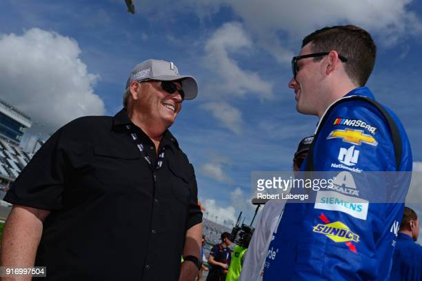 Team owner Rick Hendrick talks with Alex Bowman driver of the Nationwide Chevrolet during qualifying for the Monster Energy NASCAR Cup Series Daytona...