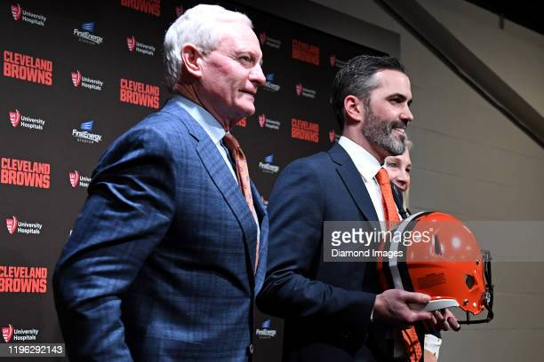 Team owners Jimmy and Dee Haslam of the Cleveland Browns pose for a picture with Kevin Stefanski after introducing Stefanski the Browns new head...