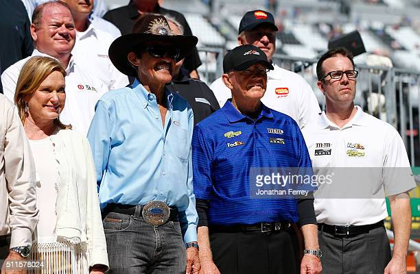 Team owners Richard Petty Joe Gibbs and son JD Gibbs pose for a photo prior to the NASCAR Sprint Cup Series DAYTONA 500 at Daytona International...