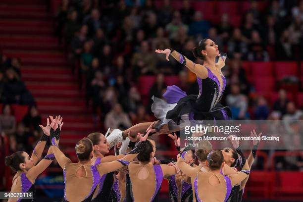 Team Paradise of Russia compete in the Free Skating during the World Synchronized Skating Championships at Ericsson Globe on April 7 2018 in...