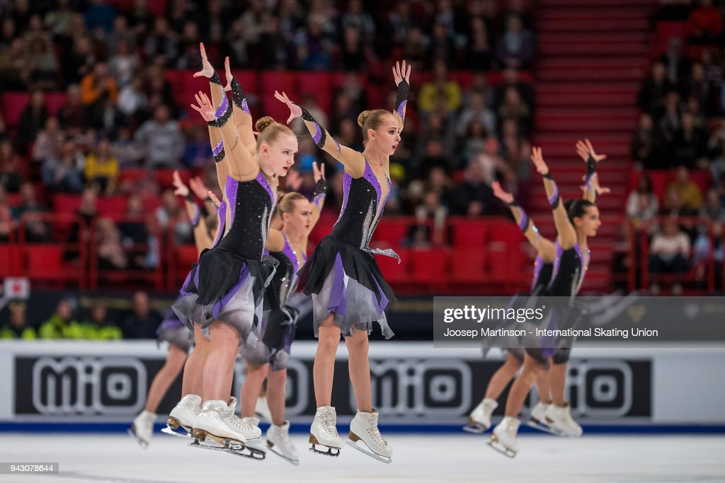 Team Paradise of Russia compete in the Free Skating during the World Synchronized Skating Championships at Ericsson Globe on April 7, 2018 in Stockholm, Sweden.