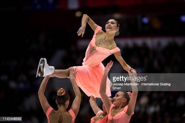 Team Paradise of Russia perform in the Free Skating during day two of the ISU World Synchronized Skating Championships at Helsinki Arena on April 13,...