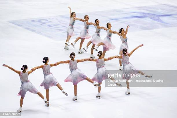 Team Paradise of Russia perform in the Short Program during day one of the ISU World Synchronized Skating Championships at Helsinki Arena on April...
