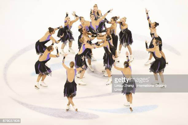 Team Paradise of Russia performs during a Synchronized Skating free skate duirng the 2017 Shanghai Trophy at the Oriental Sports Center on November...