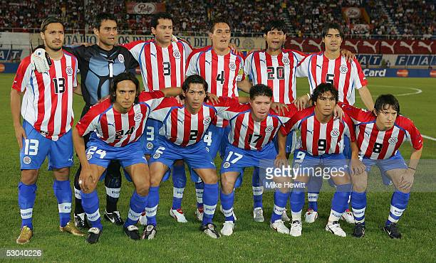 Team Paraguay pose before the FIFA World Cup qualifying match between Paraguay and Bolivia at the Defensores del Chaco Stadium on June 8 2005 in...
