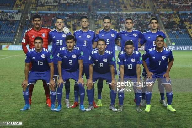 Team Paraguay pose for a group photo during the FIFA U17 World Cup Brazil 2019 round Paraguay x Argentina at Estadio Kleber Andrade on November 07...