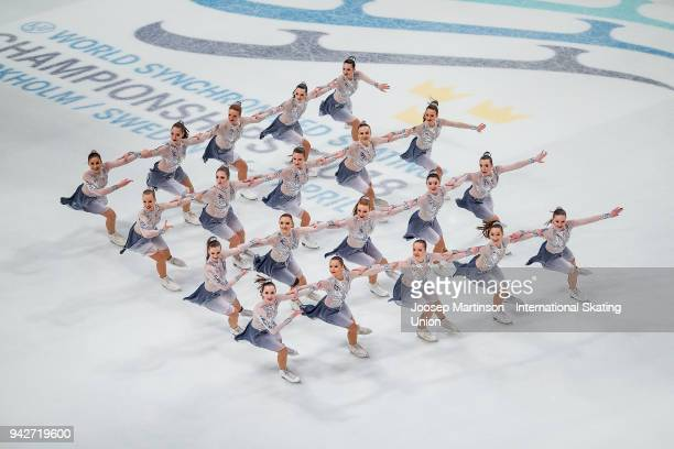 Team Passion of Hungary compete in the Short Program during the World Synchronized Skating Championships at Ericsson Globe on April 6 2018 in...