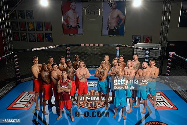 Team Penn and Team Edgar pose for a group photo inside the Octagon during filming of season nineteen of The Ultimate Fighter on October 18, 2013 in...