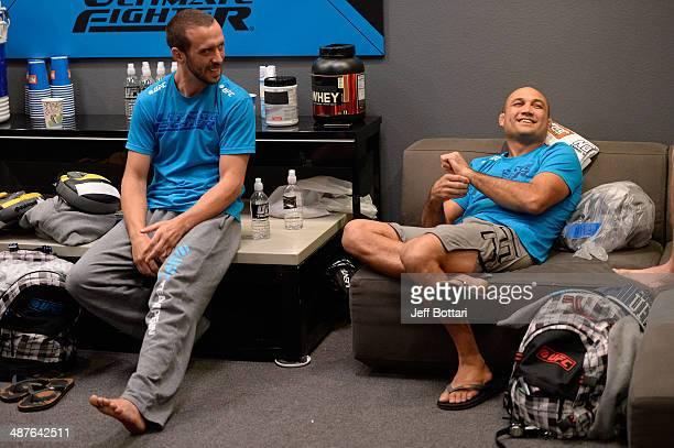 Team Penn boxing coach Jason Parillo converses with Coach BJ Penn in the locker room before their fighter Daniel Spohn faces Team Edgar fighter Todd...