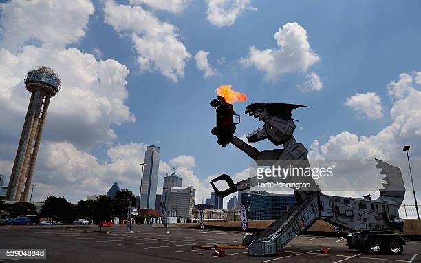 Team Penske driver Juan Pablo Montoya pilots Robosaurus during a Texas Motor Speedway event at Reunion Tower on June 9 2016 in Dallas Texas