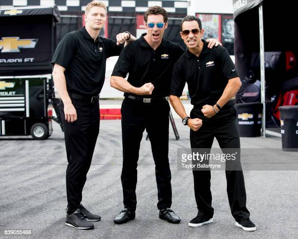 Team Penske drivers Josef Newgarden, Simon Pagenaud, and Helio Castroneves are photographed for Sports Illustrated on August 18, 2017 at Pocono...