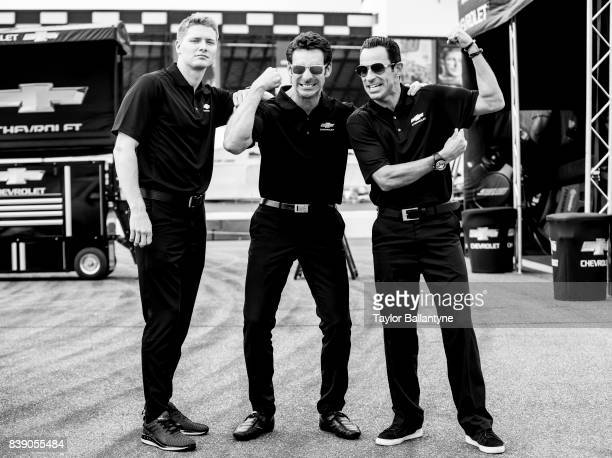 Team Penske drivers Josef Newgarden Simon Pagenaud and Helio Castroneves are photographed for Sports Illustrated on August 18 2017 at Pocono Raceway...