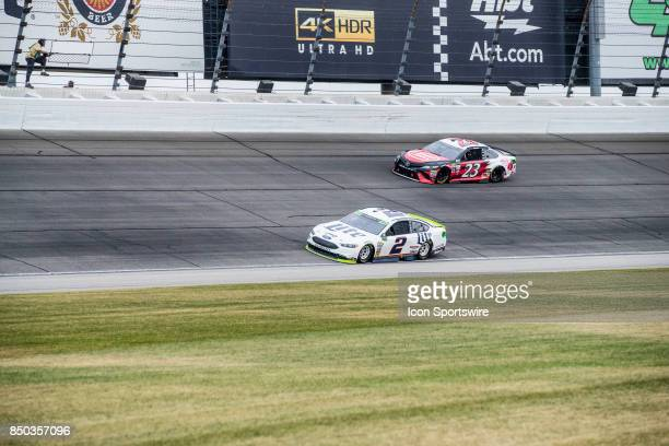 Team Penske Miller Lite Ford driver Brad Keselowski aqnd BK Racing Jewel Osco Toyota driver Corey LaJoie during the Monster Energy Cup Series Tale of...