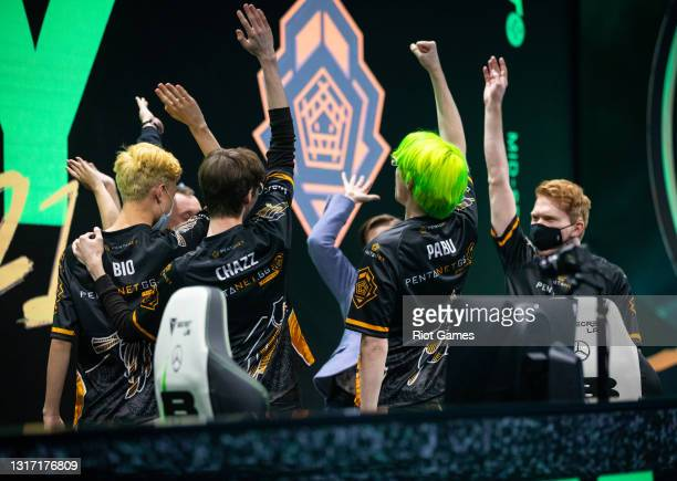 Team Pentanet.GG reacts after winning at the 2021 MSI annual League of Legends tournament on May 9, 2021 in Reykjavik, Iceland.