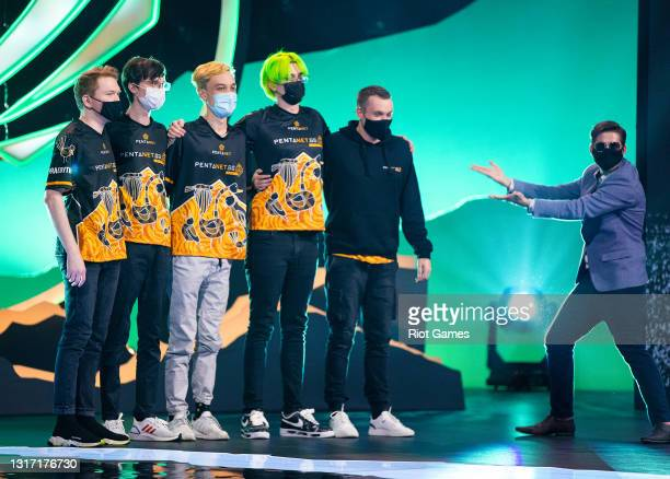 Team Pentanet.GG stands on stage after winning at the 2021 MSI annual League of Legends tournament on May 9, 2021 in Reykjavik, Iceland.