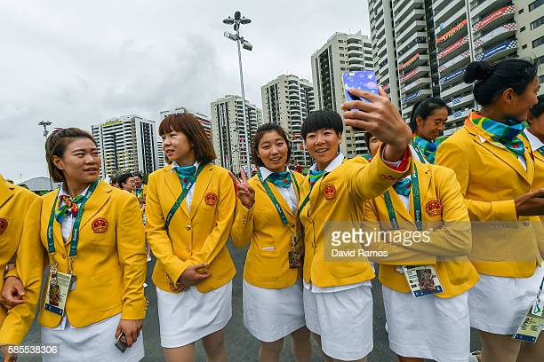 Team People's Republic of China athletes for the Rio 2016 Olympic Games attend their welcome ceremony at the Athletes village on August 3 2016 in Rio...